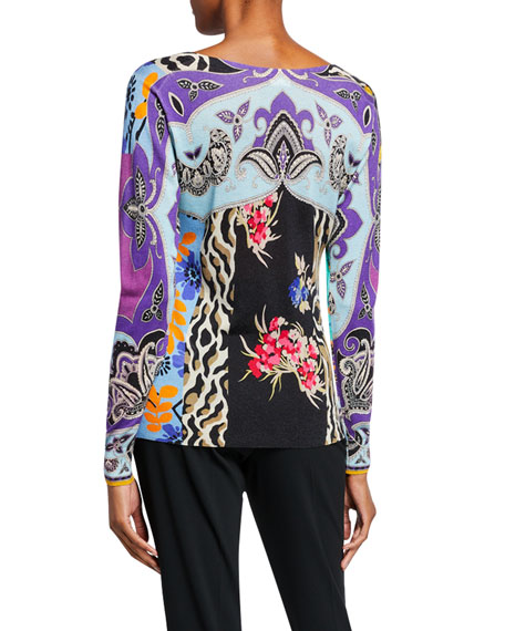 Etro Stamp Croce Patchwork Floral Sweater