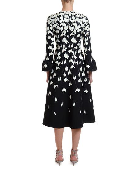 Valentino Bucaneve Snowdrop Flower Print Crepe Couture Dress