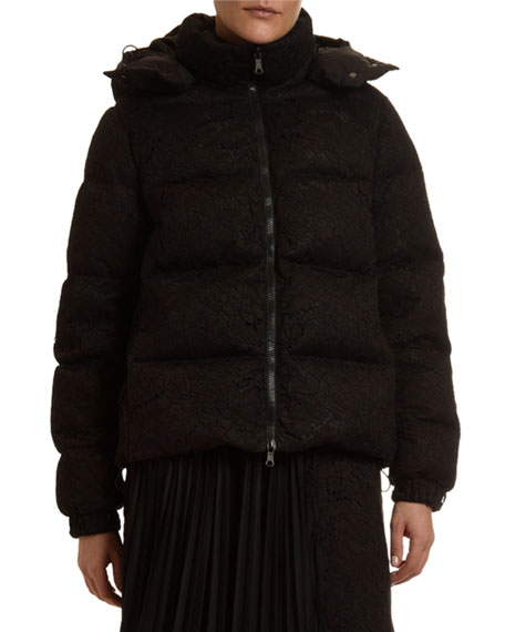 Valentino Lace-Covered Puffer Jacket
