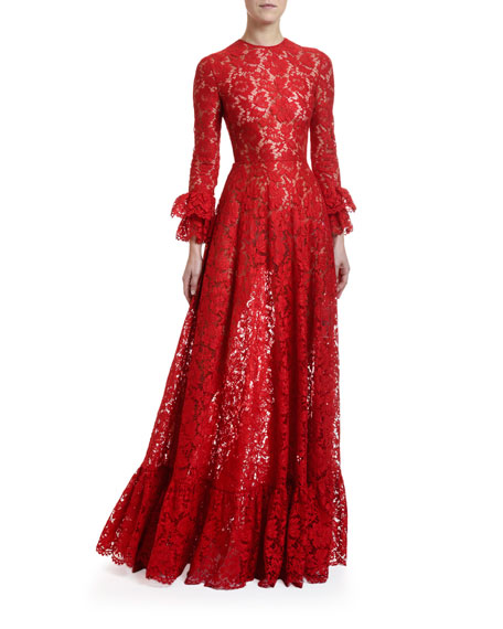 Valentino Flare-Cuffed Heavy Lace Gown