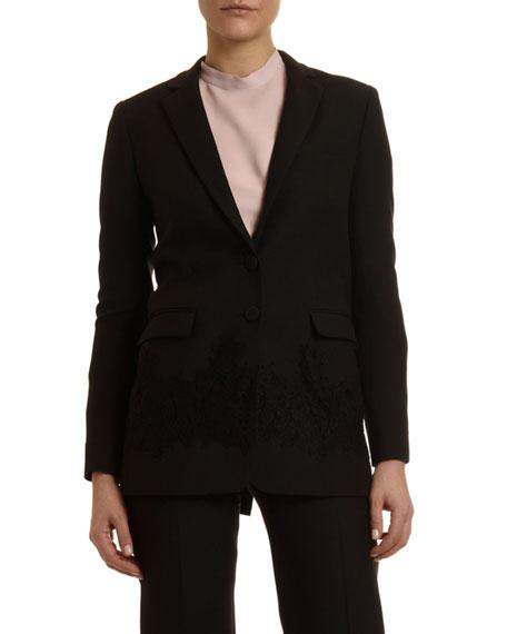 Valentino Crepe Couture Lace Overlay Blazer