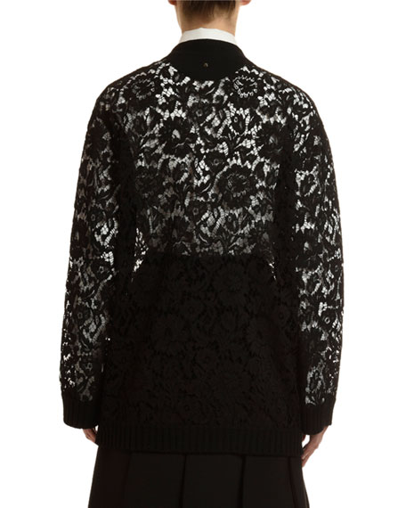 Valentino V-Neck Heavy Lace Cardigan