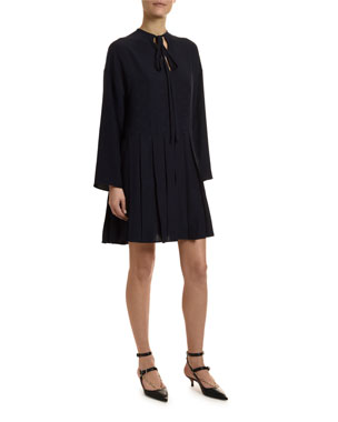 1b468504dee2 Valentino Go Logo Satin Long-Sleeve Tie-Neck Dress