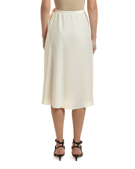 Valentino Logo Print Satin Wrap-Waist Skirt