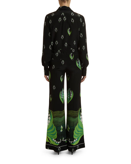 Valentino Lily of the Valley Print Crepe Blouse