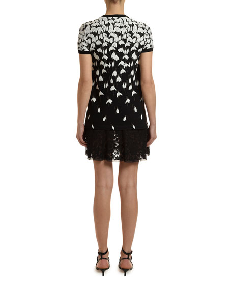 Valentino Short-Sleeve Jersey Dress