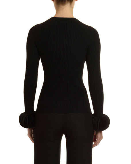 Valentino Disc-Cuff Crewneck Sweater