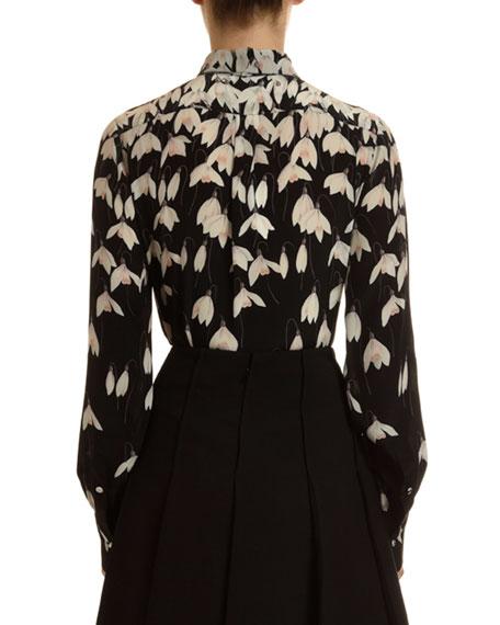 Valentino Bucaneve Snowdrop Flower Print Tie-Neck Blouse