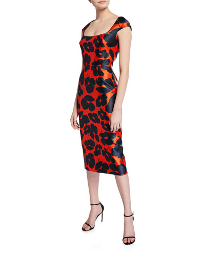 Floral-Print Mikado Sheath Dress