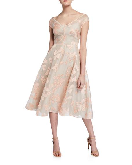 Lela Rose Dresses FLORAL JACQUARD FULL-SKIRT DRESS