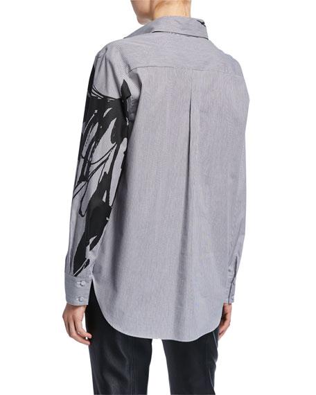 Piazza Sempione Pinstriped Cotton Graphic Shirt