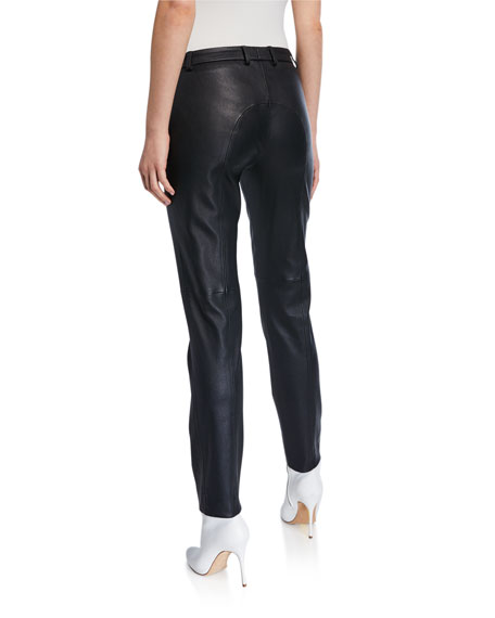 Piazza Sempione Leather Slim Pants