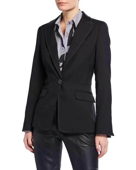 Piazza Sempione Textured Stretch-Wool Blazer with Faux-Leather Trim