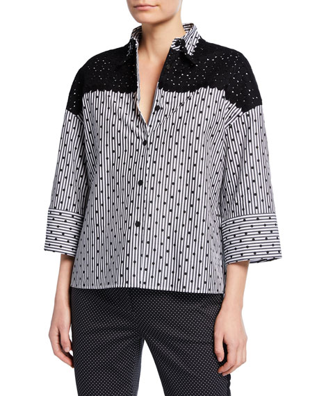 Piazza Sempione 3/4-Sleeve Striped Lace-Yoke Shirt