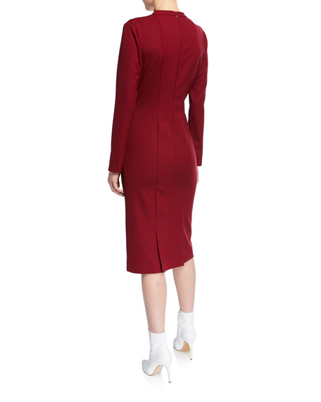 Image 2 of 2: Stitched Funnel-Neck Cocktail Dress