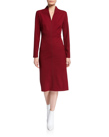 Image 1 of 2: Stitched Funnel-Neck Cocktail Dress