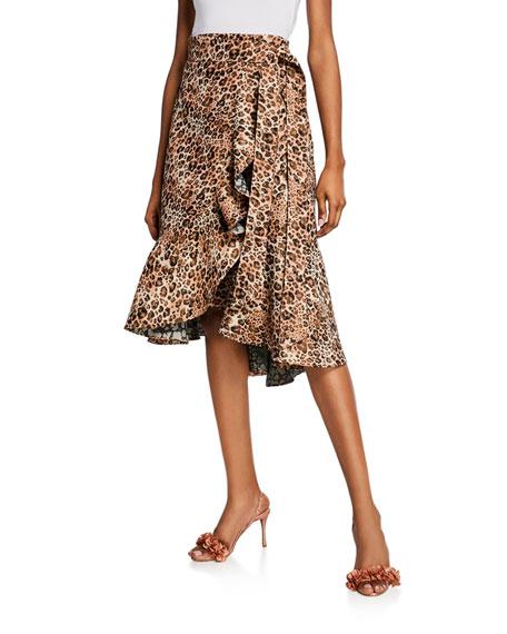 Johanna Ortiz Leopard Tapestry Wrap Skirt