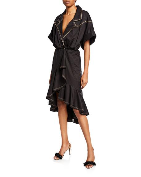 Johanna Ortiz Cap-Sleeve V-Neck Dress