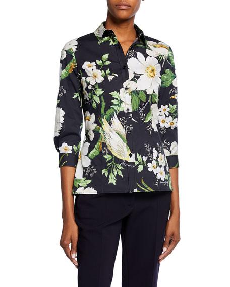 Carolina Herrera Midnight Floral-Print 3/4-Sleeve Shirt
