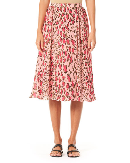 Carolina Herrera Leopard-Print Gathered Midi Skirt