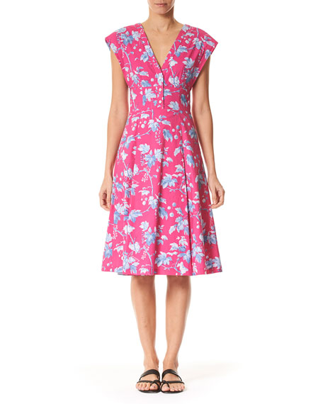 Carolina Herrera Vine-Leaf-Print Cap-Sleeve Dress