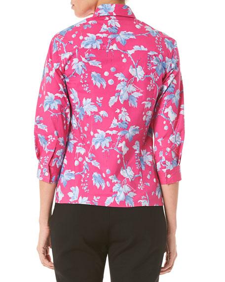 c722318a1 Carolina Herrera Vine Leaf Print 3/4-Sleeve Shirt | Neiman Marcus