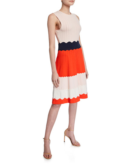 Lela Rose Scalloped Colorblock Knit Fit-&-Flare Dress