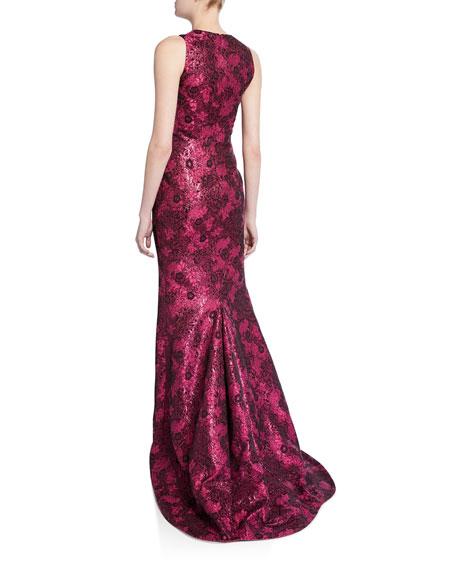 Zac Posen Metallic Jacquard Sleeveless Gown
