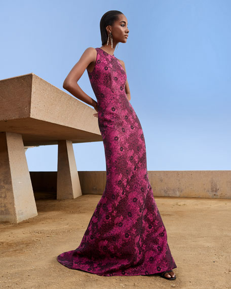 Image 2 of 3: Metallic Jacquard Sleeveless Gown