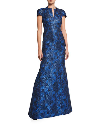 Metallic Party-Jacquard Cap-Sleeve Gown