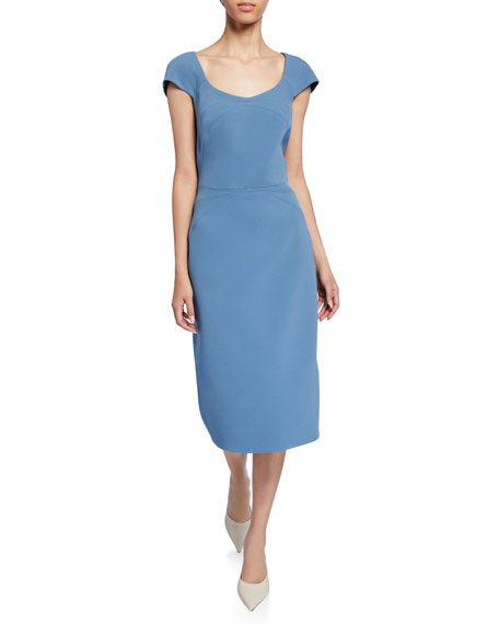 Zac Posen Bonded Crepe Scoop-Neck Dress