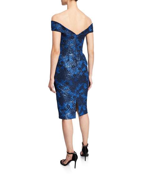 Zac Posen Off-the-Shoulder Metallic Party Jacquard Dress