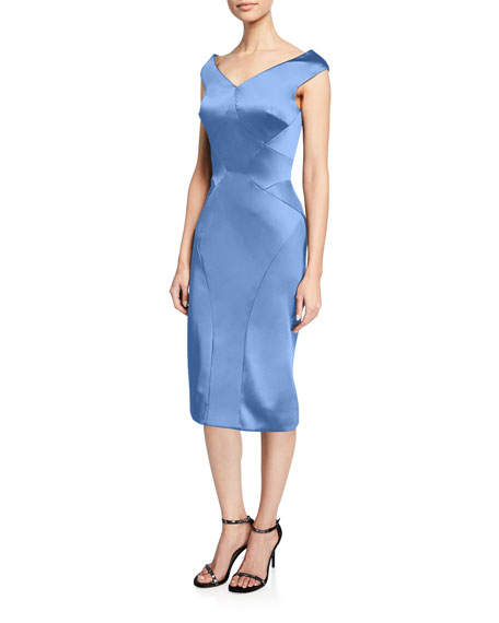 Zac Posen STRETCH SATIN V-NECK DRESS