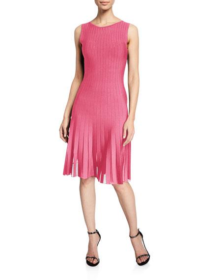 Zac Posen Radiant Striped Knit Fringe Hem Dress