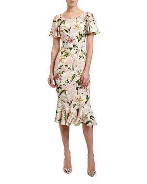 fba6fcc5021 Dolce   Gabbana Lily Print Flutter Sleeve Bodycon Dress