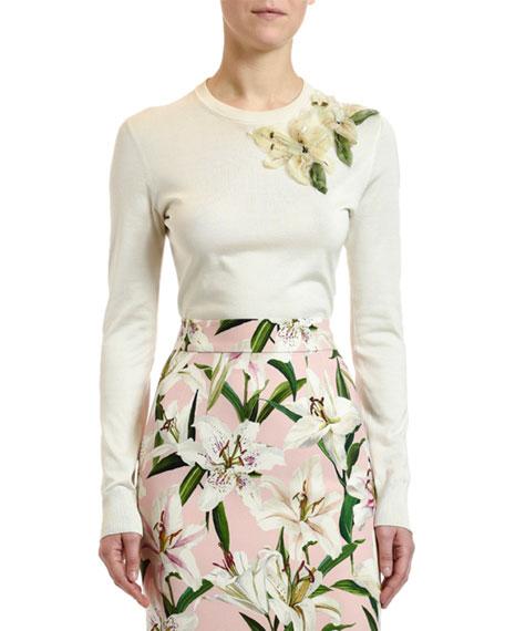 Dolce & Gabbana Lily-Embellished Silk Sweater