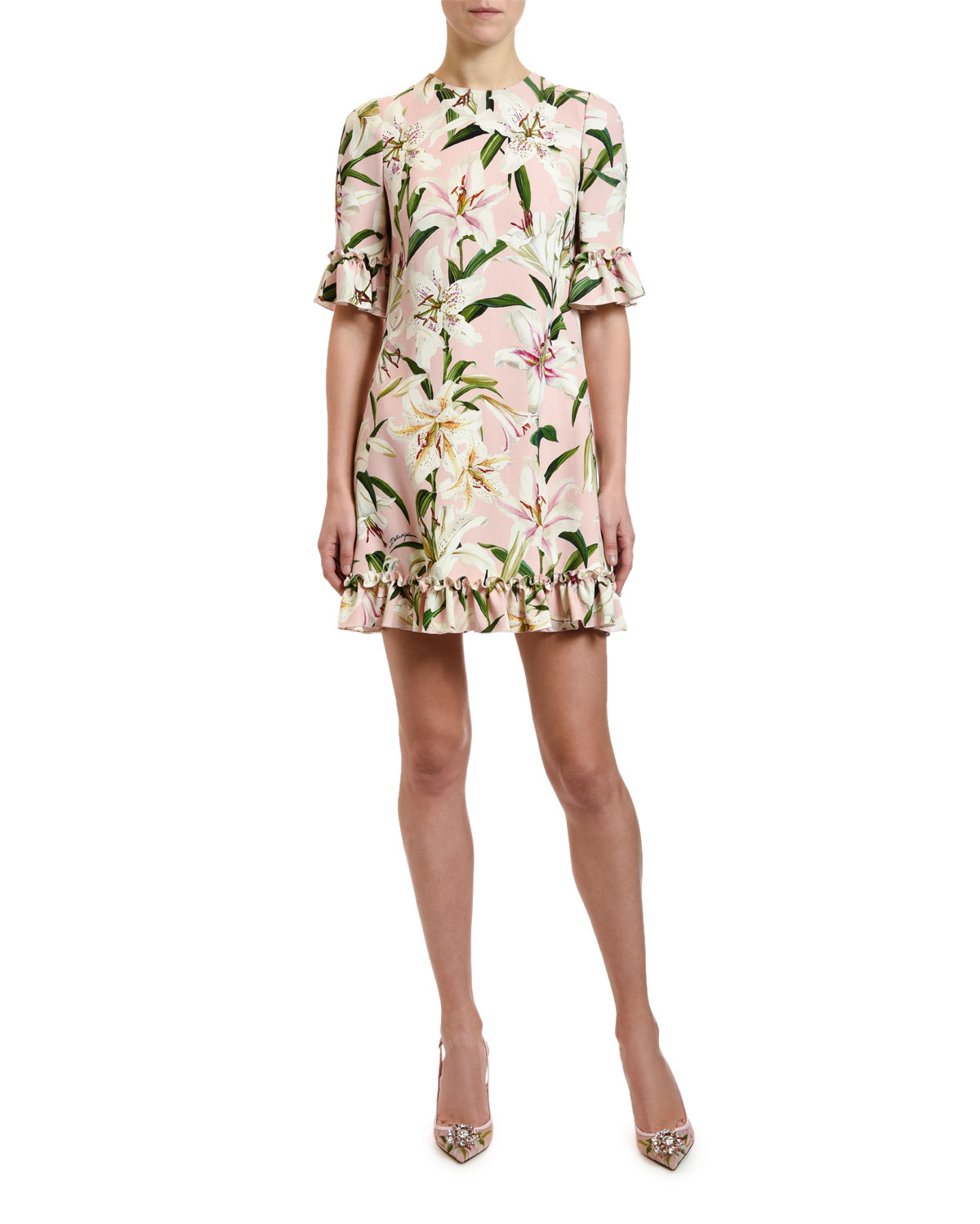 688d6eb6c Dolce & Gabbana 1/2-Sleeve Lily-Print Ruffled Cady Dress | Neiman Marcus