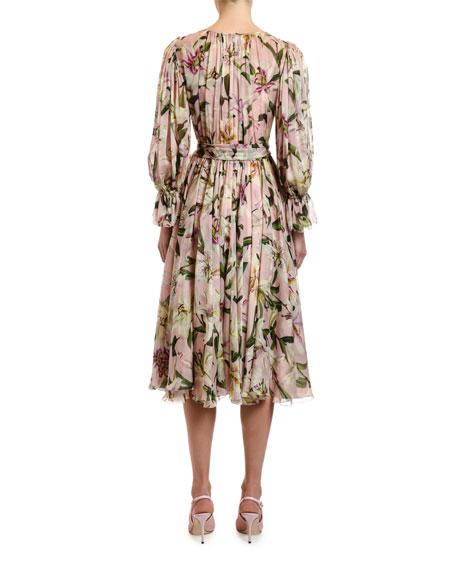Dolce & Gabbana Long-Sleeve Wrapped Lily-Print Chiffon Dress