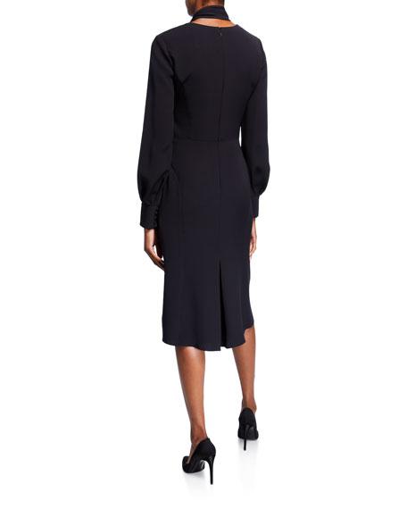 Carolina Herrera Bow-Neck Puff-Sleeve Silk Dress