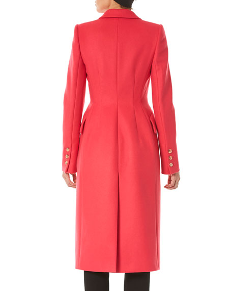 Carolina Herrera Long Wool Peak-Lapel Coat