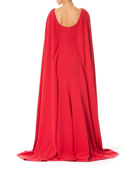 Carolina Herrera Bateau-Neck Column Cape Gown