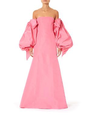 62f10867839a Carolina Herrera Off-the-Shoulder Puff-Sleeve Dress