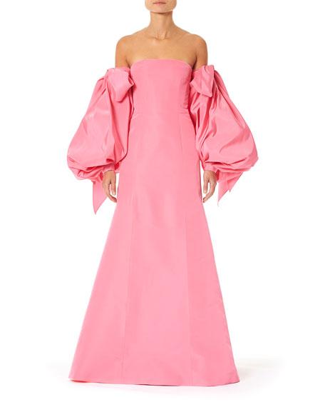 Carolina Herrera Off-the-Shoulder Puff-Sleeve Dress