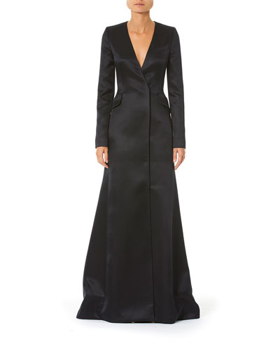 Long-Sleeve Satin Suit Gown