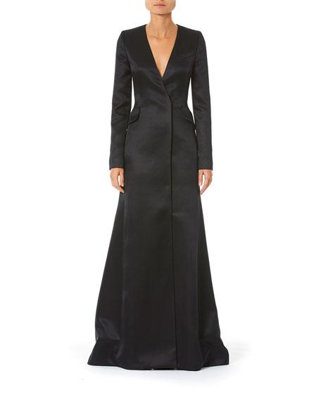 Carolina Herrera Long-Sleeve Satin Suit Gown