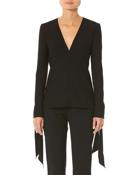 Carolina Herrera Tie-Cuff Long-Sleeve Blouse