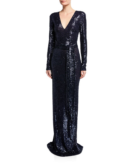 Naeem Khan Long-Sleeve V-Neck Gown