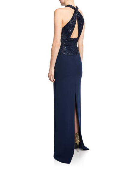Naeem Khan Crisscross Beaded Halter Gown
