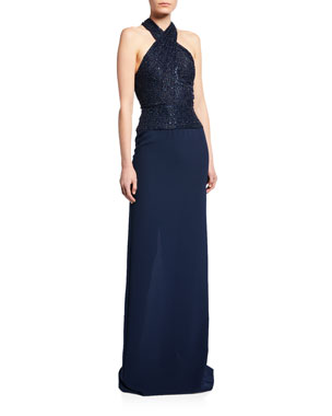 5e214cd1f2e0f Naeem Khan Crisscross Beaded Halter Gown