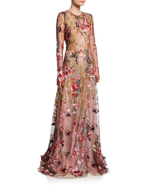0beb5ef0c612d Naeem Khan Long-Sleeve Flower Embroidered Gown